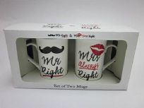 Mr Right Moustache & Mrs Right Lips 2 Piece Cup Set